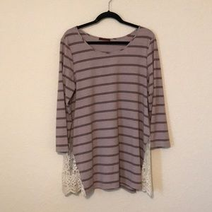 Purple Striped Lace Sided Top